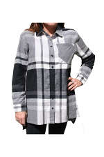Plaid Shirt With Pocket in Grey