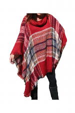 Knit Cowl Neck Poncho in Rust
