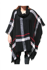 Knit Cowl Neck Poncho in Black