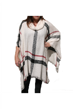 Knit Cowl Neck Poncho in White
