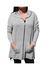 Hi Low Zip Hoodie With Slit in Grey