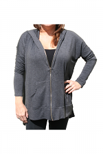French Terry Span With Zipper Hoodie in Charcoal