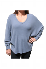 Dolman Sleeve Brushed Waffle Top in Blue