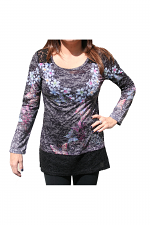 Long Sleeve Shirt With Print & Knit Trim in Black
