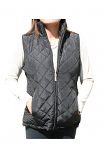 Quilted Zip Up Vest in Black