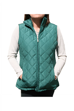 Quilted Zip Up Vest in Forest