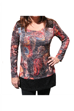 Long Sleeve Shirt With Print & Knit Trim in Black & Orange