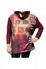 Long Sleeve Cowl Neck With Print In Wine