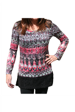 Long Sleeve Shirt With Print & Knit Trim in Red