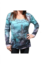 Long Sleeve Shirt With Eiffel Tower Print in Black