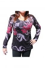 Long Sleeve Flower Print Top in Black