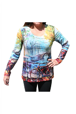 Long Sleeve Top With Bicycle Print in Yellow