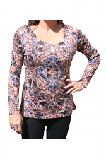 Long Sleeve Print Top With Scoop Neck & Stones in Rust