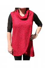 Cowl Neck Vest With Tulip Detail in Red