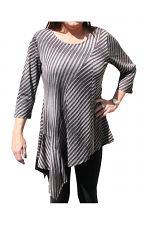 Asym Tunic With Handkerchief Side in Black & White