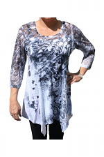Digital Print Tunic With Stones in Grey