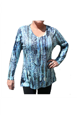 Digital Print With Stones Tunic in Turquoise