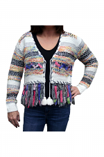 Long Sleeve Knitted Cardigan in Multi