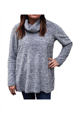 Cowl Neck Fuzzy Sweater in Blue