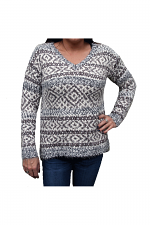 Sweater V-Neck Pullover in Ivory