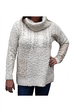 Fuzzy Cowl Neck Sweater in Ivory