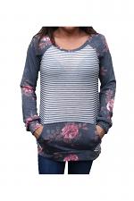 Pin Strip Floral Sweatshirt in Black