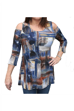 Cool Shoulder Tunic in Blue