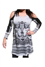 Off The Shoulder Dress With Trim in Heather Grey