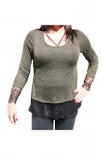 Long Sleeve With Lace Trim in Olive