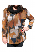 Long Sleeve Cowl Neck Print Top in Brown