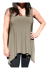 Back V-Neck Tank in Olive