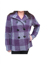 Button Up Plaid Jacket in Purple