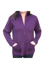 Zip Up Two Pocket Sweater in Eggplant
