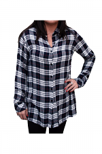 Plaid Woven Top in Navy