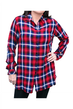 Plaid Woven Top in Red