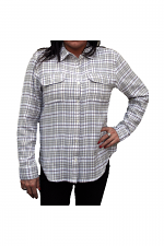 Plaid Shirt With Pockets in Grey & White