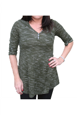 Rolled Sleeve Strip Top With Buttons in Olive