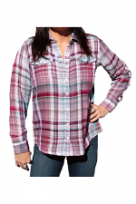 Long Sleeve Two Pocket Plaid Shirt in Pink