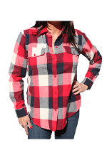 Long Sleeve Plaid Shirt With Pockets in Red
