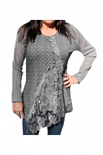 Lon Sleeve Knit Layered Tunic in Grey