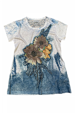 Cap Sleeve Top with Flowers
