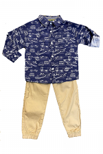 2 Piece Pant Set with Airplanes