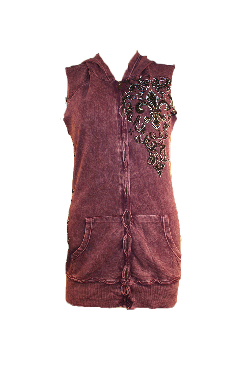 Sleeveless Hoodie with Fleur de Lis