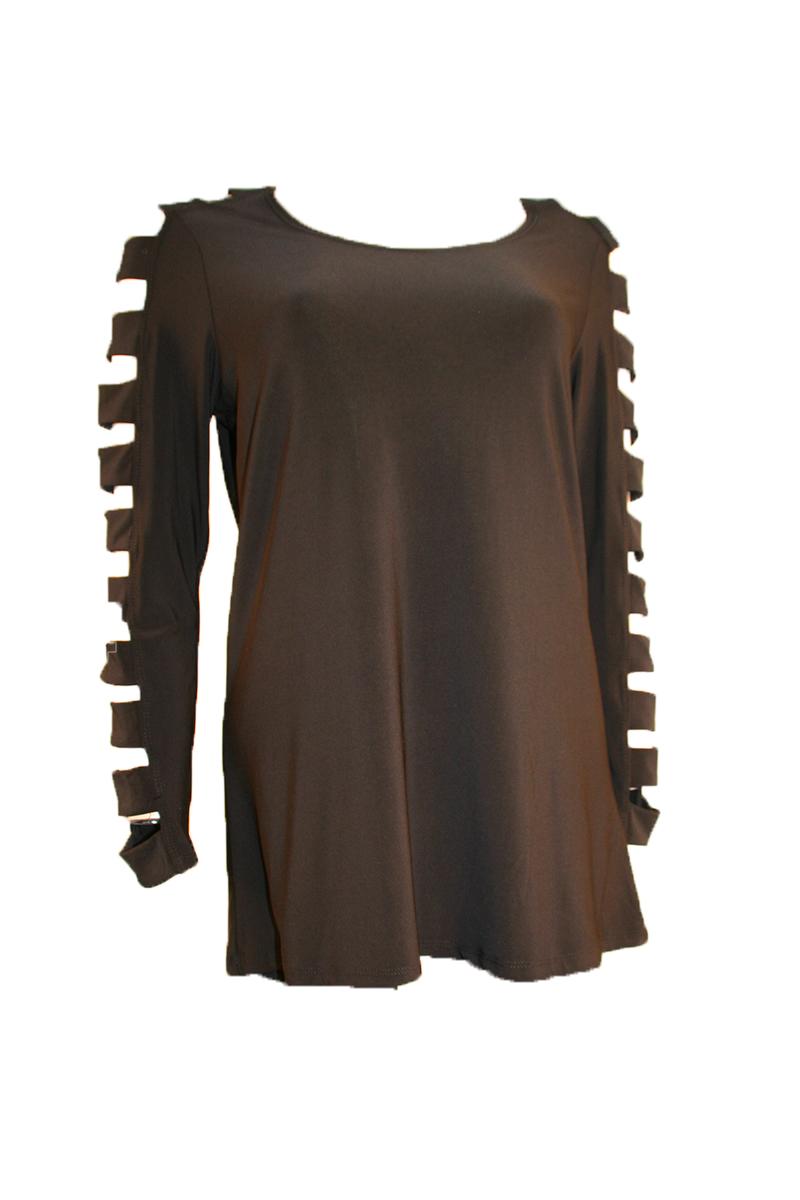 Lattic Sleeve Top in Black
