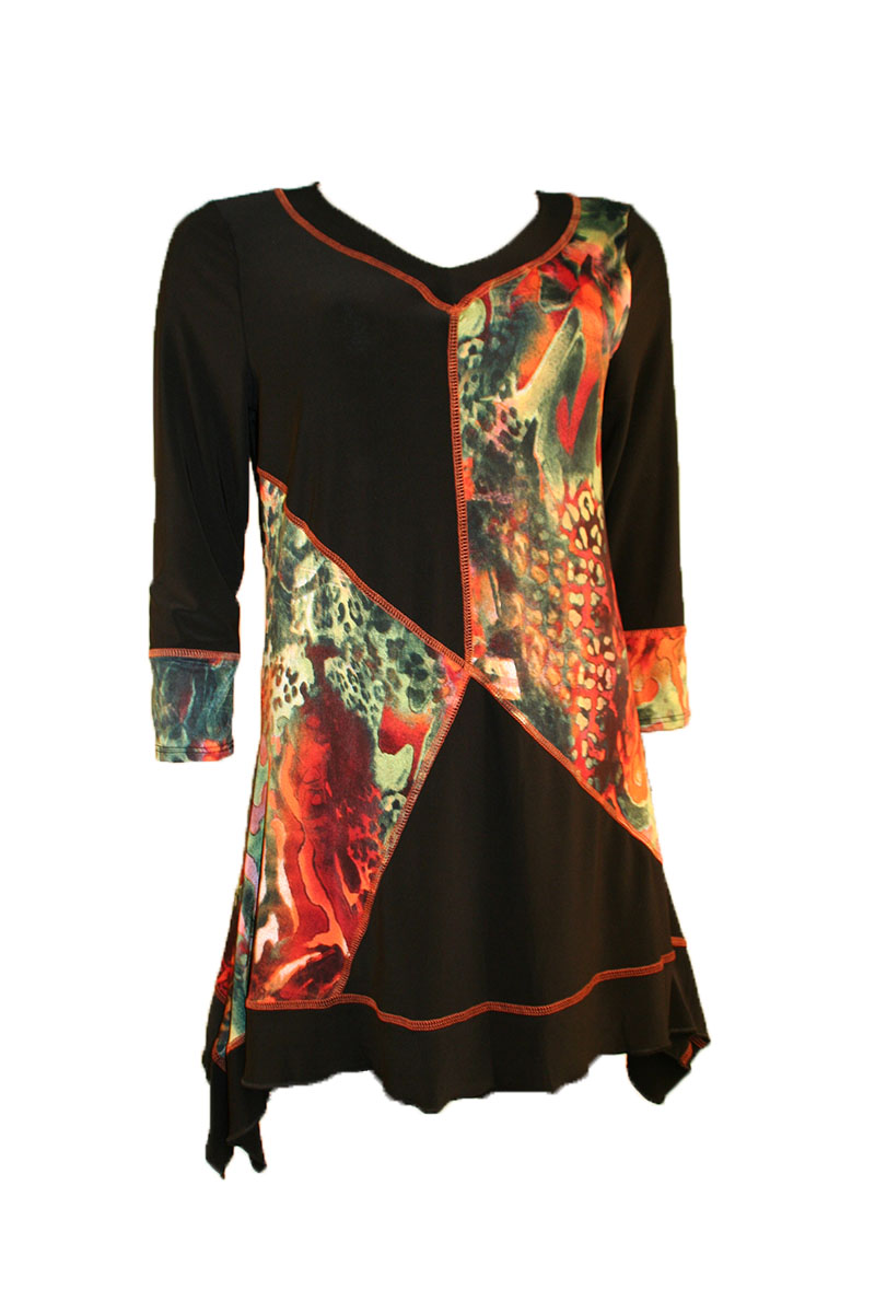 Patchwork Tunic Top in Black and Orange