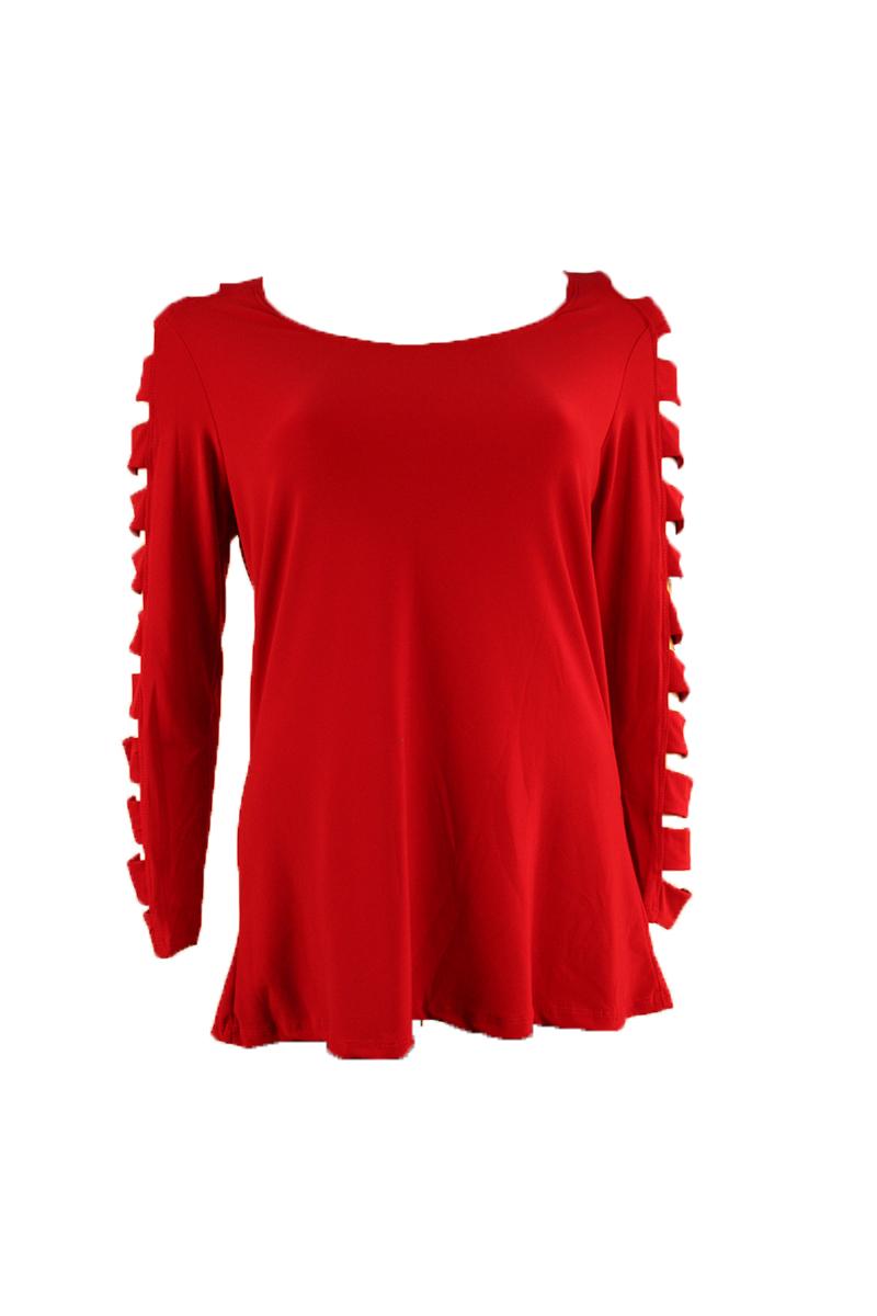 Lattic Sleeve Top in Red