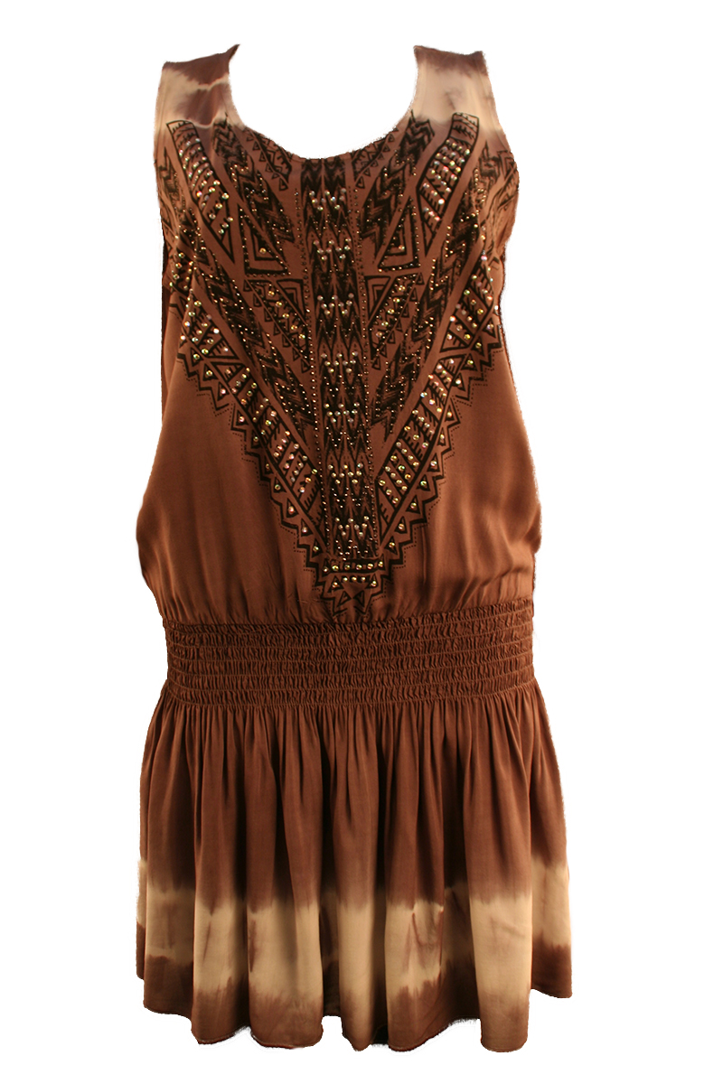 Tank Tunic with Elastic Waist in Taupe
