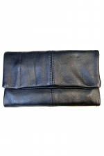 Leather Clutch Wallet with Magnetic Closure