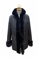 Quilted Taffeta Jacket with Fur Trim & Removable Liner