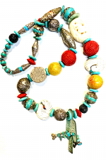 Old Tibetan Silver & Beaded Necklace